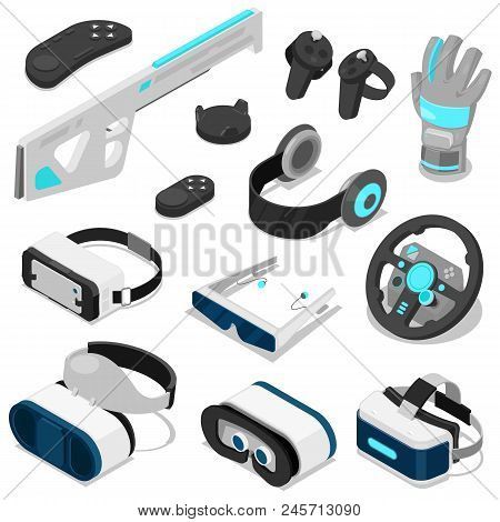 Virtual Reality Vector Vc Gaming Digital Device Or Gadget 3d Glasses Or Headset Isometric Illustrati