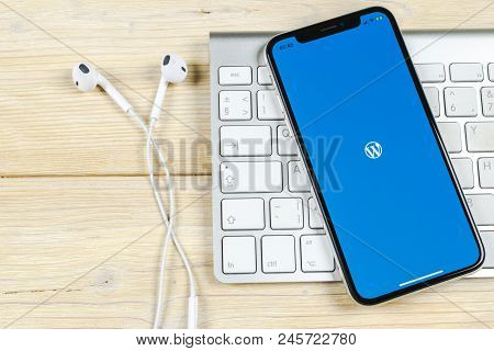 Sankt-petersburg, Russia, June 2, 2018: Wordpress Application Icon On Apple Iphone X Screen Close-up