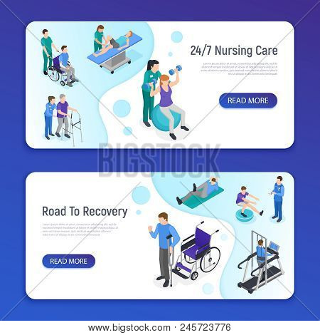 Physiotherapy Rehabilitation Clinic 2 Isometric Horizontal Web Banners With Nursing Care Road To Rec