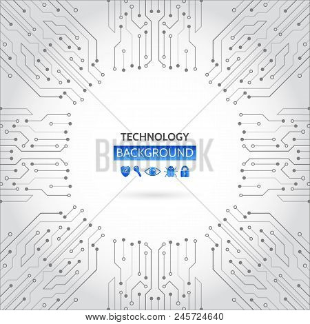 High-tech Technology Background Texture. Circuit Board Vector Illustration. Internet Data Security.