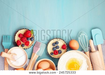 Baking Utensils And Cooking Ingredients For Tarts, Cookies, Dough And Pastry. Flat Lay With Eggs, Fl