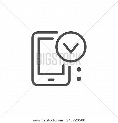 Mobile Approving Line Icon Isolated On White. Vector Illustration