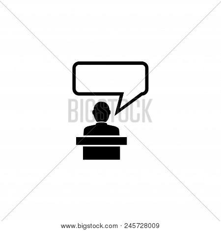 Orator Speaking From Tribune, Speaker. Flat Vector Icon Illustration. Simple Black Symbol On White B