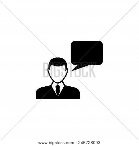 Speaking Man. Flat Vector Icon Illustration. Simple Black Symbol On White Background. Speaking Man S