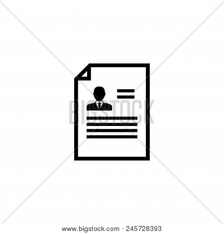 Resume Cv. Flat Vector Icon Illustration. Simple Black Symbol On White Background. Resume Cv Sign De
