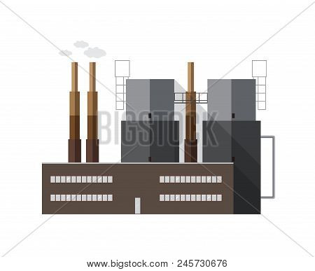 Contemporary Factory Building With Pipes Emitting Smoke Isolated On White Background. Electricity Ge
