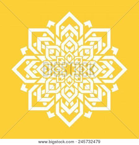 Mandala Flower. Vector Yoga Design Element. Round Floral Symbol. White And Yellow. Fresh Idea For Yo