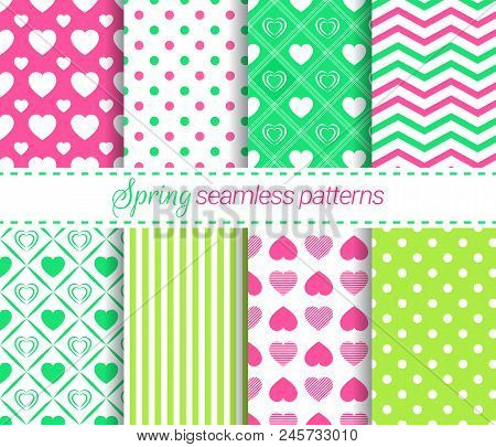 Spring Seamless Pattern Set. Vector Repeated Texture. Geometric Backgrounds Collection. Green, Light