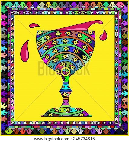Abstract Colored Background Image Of Bowl With Frame Consisting Of Lines And Figures