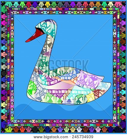 Abstract Colored Background Image Of Swan Consisting Of Lines And Figures