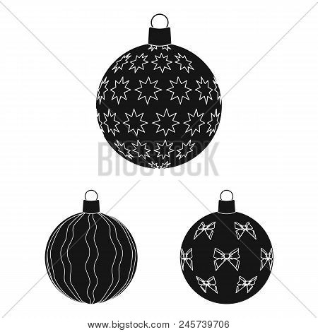 Balls For Decoration Black Icons In Set Collection For Design.christmas Balls Vector Symbol Stock  I