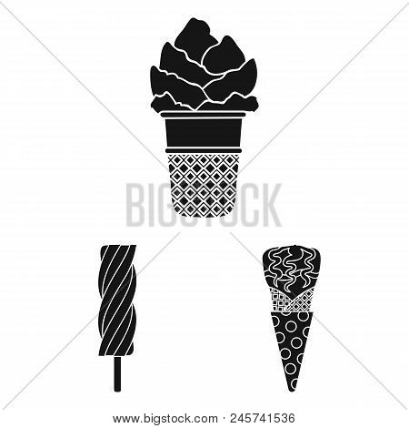 Different Ice Cream Black Icons In Set Collection For Design. Dessert And Sweetness Vector Symbol St