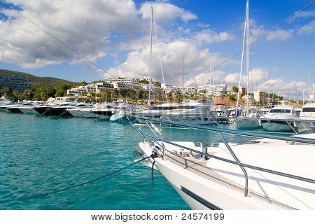 Calvia Puerto Portals Nous luxury yachts in Majorca Balearic Island from Spain