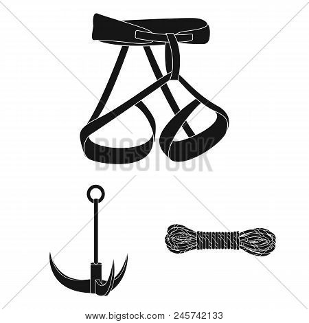 Mountaineering And Climbing Black Icons In Set Collection For Design. Equipment And Accessories Vect