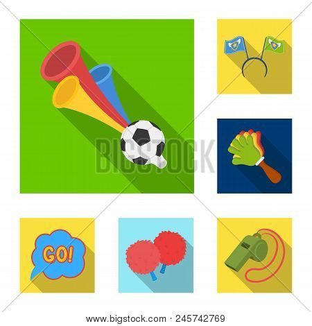 Fan And Attributes Flat Icons In Set Collection For Design. Sports Fan Vector Symbol Stock  Illustra