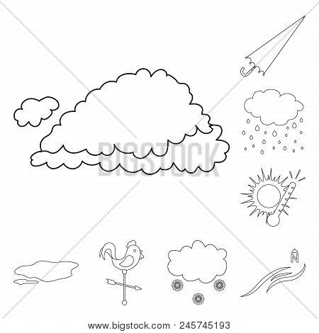 Different Weather Outline Icons In Set Collection For Design.signs And Characteristics Of The Weathe