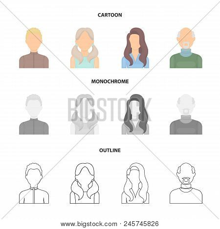 Boy Blond, Bald Man, Girl With Tails, Woman.avatar Set Collection Icons In Cartoon, Outline, Monochr