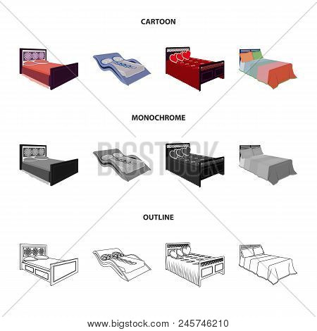 Different Beds Cartoon, Outline, Monochrome Icons In Set Collection For Design. Furniture For Sleepi