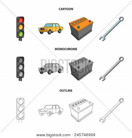 Traffic Light, Old Car, Battery, Wrench, Car Set Collection Icons In Cartoon, Outline, Monochrome St