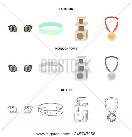 Cat's Eyes, A Collar, A House For A Cat, A Medal On A Ribbon.cat Set Collection Icons In Cartoon,out