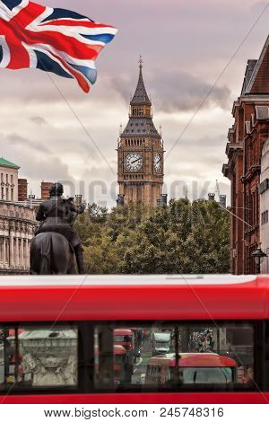 Red Bus Against Big Ben In London, England
