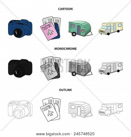 Vacation, Photo, Camera, Passport .family Holiday Set Collection Icons In Cartoon, Outline, Monochro