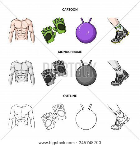 Men's Torso, Gymnastic Gloves, Jumping Ball, Sneakers. Fitnes Set Collection Icons In Cartoon,outlin