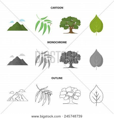 Mountain, Cloud, Tree, Branch, Leaf.forest Set Collection Icons In Cartoon, Outline, Monochrome Styl