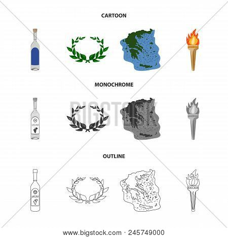Greece, Country, Tradition, Landmark .greece Set Collection Icons In Cartoon, Outline, Monochrome St