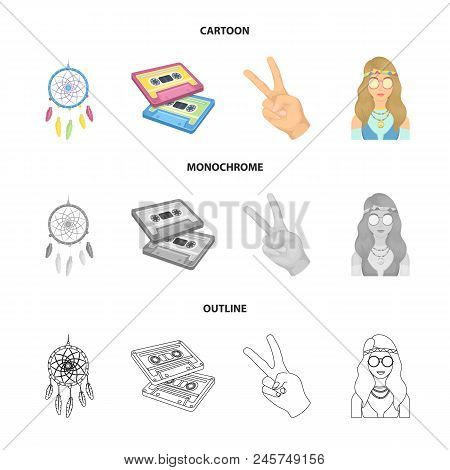 Amulet, Hippie Girl, Freedom Sign, Old Cassette.hippy Set Collection Icons In Cartoon, Outline, Mono