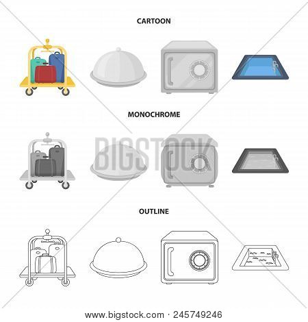 Trolley With Luggage, Safe, Swimming Pool, Clutch.hotel Set Collection Icons In Cartoon, Outline, Mo