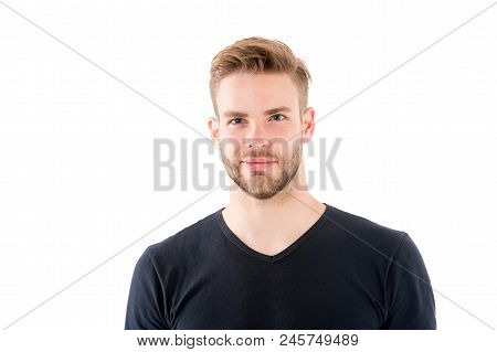 Confident In His Perfectness. Man With Bristle Smiling Face Isolated White Background. Male Beauty C
