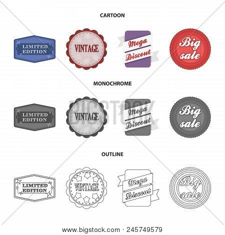 Limited Edition, Vintage, Mega Discont, Dig Sale.label, Set Collection Icons In Cartoon, Outline, Mo