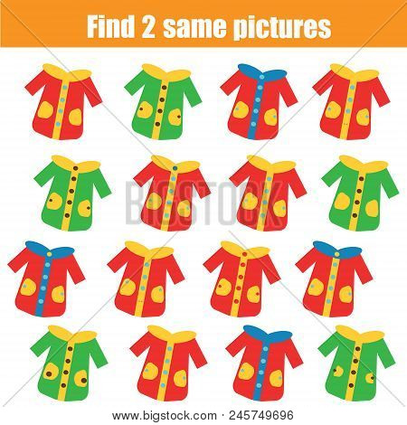 Find The Same Pictures. Children Educational Game. Find Equal Pairs Of Coats