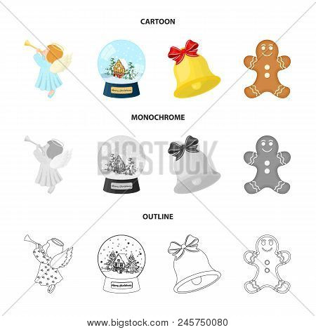 Angel, Glass Bowl, Gingerbread And Bell Cartoon, Outline, Monochrome Icons In Set Collection For Des