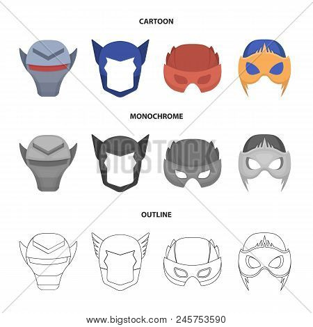 Helmet, Mask On The Head.mask Super Hero Set Collection Icons In Cartoon, Outline, Monochrome Style