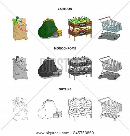 Sausages, Fruit, Cart .supermarket Set Collection Icons In Cartoon, Outline, Monochrome Style Vector