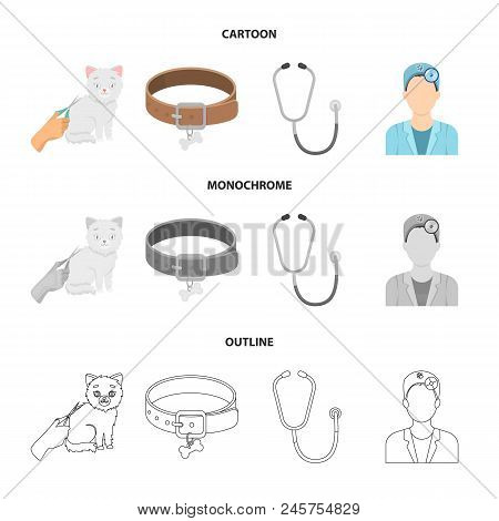 Collar, Bone, Cat, Haircut .vet Clinic Set Collection Icons In Cartoon, Outline, Monochrome Style Ve