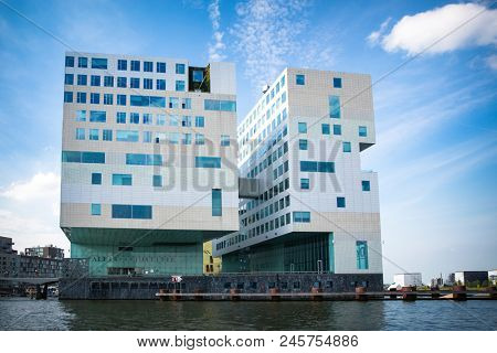 Amsterdam, The Netherlands - 7th May 2014 - The Palace of Justice building in Amsterdam. This modern, angular complex was designed by Claus en Kaan Architects.