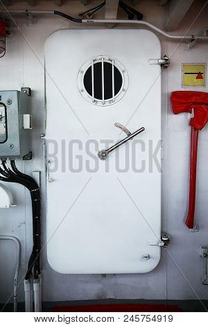 Water Tight Door On A Ship, Exit Door Or Emergency Door.