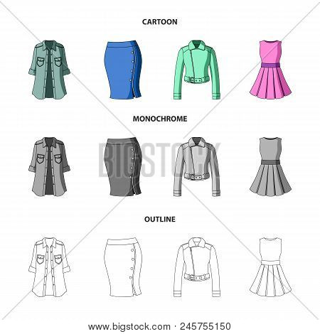 Women's Clothing Cartoon,outline,monochrome Icons In Set Collection For Design.clothing Varieties An