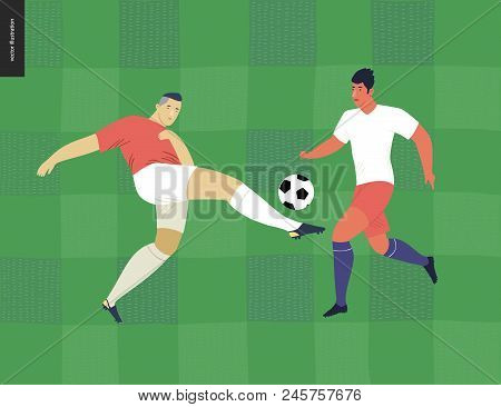 European Football, Soccer Players - Flat Vector Illustration Of A Young Men Wearing European Footbal