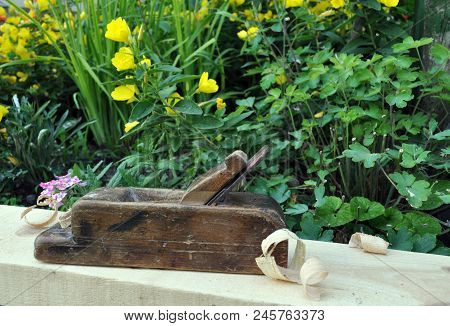planed board with sawdust and a plane on a background of green grass poster