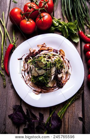 Salad Of Shrimps And Seafood With Parmesan Cheese Dish On Rustic Wooden Background A