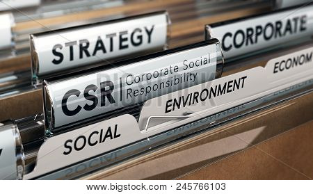 3d Illustration Of A Folder And Focus On A Tab With The Acronym Csr, Corporate Social Responsibility