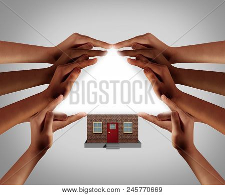 Home Support And Community Shelter And House Support Concept As A Group Protection Assistance With D