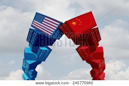 Us China Trade War And United States Or American Tariffs As Two Groups Of Opposing Cargo Containers