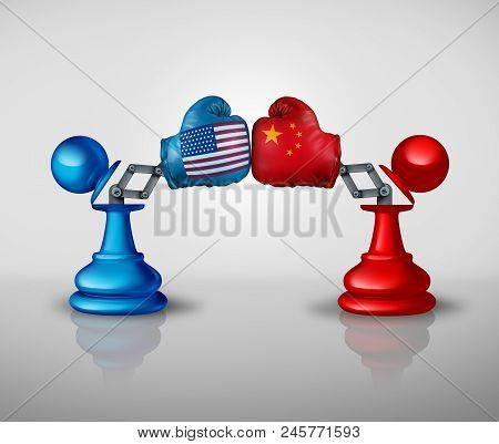 China United States Trade War Strategy And American Tariffs Conflict With Two Chess Pawns Trading Fi