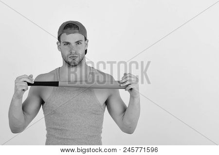 Sports And Baseball Training Concept Man In Cyan Green Cap On White Background. Guy In Grey Tank Top