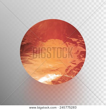 Stock Vector Illustration Shiny, Sparkly Copper Leaf Circle. Metal Foil Texture Isolated On A Transp